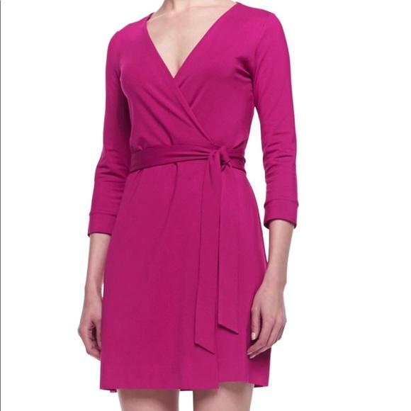 8ff898020d59 Diane Von Furstenberg Dresses | New Julian Two Mini Wrap Dress Pink ...